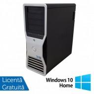 Statie grafica Refurbished Dell Precision T7500 Tower, 1x Intel Xeon X5667 Quad Core 3.06GHz - 3.46GHz, 24GB DDR3, HDD 1TB SATA, DVD-RW, Placa Video Nvidia Quadro 4000/2GB GDDR5/256 bit + Windows 10 Home Calculatoare