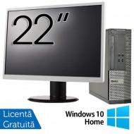 Calculator DELL 3010 SFF, Intel Core i5-3470 3.20GHz, 4GB DDR3, 500GB SATA, DVD-ROM + Monitor 22 Inch + Windows 10 Home Calculatoare