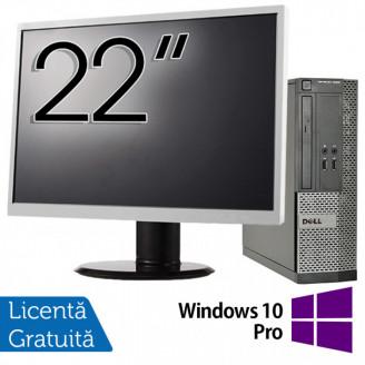 Calculator DELL 3010 SFF, Intel Core i5-3470 3.20GHz, 4GB DDR3, 500GB SATA, DVD-ROM + Monitor 22 Inch + Windows 10 Pro