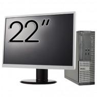 Calculator DELL 3010 SFF, Intel Core i5-3470 3.20GHz, 4GB DDR3, 500GB SATA, DVD-ROM + Monitor 22 Inch Calculatoare