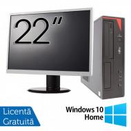 Pachet Calculator Fujitsu E420 Desktop, Intel Core i5-4460 3.20GHz, 4GB DDR3, 500GB SATA, DVD-RW + Monitor 22 Inch + Windows 10 Home Calculatoare