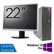 Pachet Calculator Fujitsu E420 Desktop, Intel Core i5-4460 3.20GHz, 4GB DDR3, 500GB SATA, DVD-RW + Monitor 22 Inch + Windows 10 Pro Calculatoare