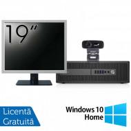 Pachet Calculator HP Prodesk 600 G2 SFF, Intel Core i3-6100 3.70GHz, 4GB DDR4, 500GB SATA, DVD-RW + Monitor 19 Inch + Webcam + Tastatura si Mouse + Windows 10 Home Calculatoare