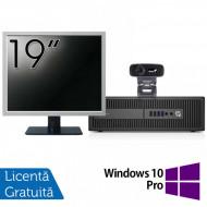 Pachet Calculator HP Prodesk 600 G2 SFF, Intel Core i3-6100 3.70GHz, 4GB DDR4, 500GB SATA, DVD-RW + Monitor 19 Inch + Webcam + Tastatura si Mouse + Windows 10 Pro Calculatoare