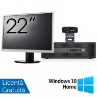 Pachet Calculator HP Prodesk 600 G2 SFF, Intel Core i3-6100 3.70GHz, 4GB DDR4, 500GB SATA, DVD-RW + Monitor 22 Inch + Webcam + Tastatura si Mouse + Windows 10 Home Calculatoare