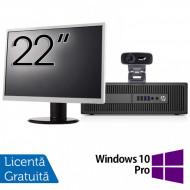 Pachet Calculator HP 800 G2 SFF, Intel Core i5-6500 3.20GHz, 8GB DDR4, 240GB SSD + Monitor 22 Inch + Webcam + Tastatura si Mouse + Windows 10 Pro Calculatoare