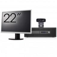 Pachet Calculator HP Prodesk 600 G2 SFF, Intel Core i3-6100 3.70GHz, 4GB DDR4, 500GB SATA, DVD-RW + Monitor 22 Inch + Webcam + Tastatura si Mouse Calculatoare