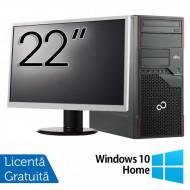Pachet Calculator Fujitsu ESPRIMO P710 Tower, Intel Core i3-3220 3.30GHz, 4GB DDR3, 250GB SATA, DVD-RW + Monitor 22 Inch + Windows 10 Home Calculatoare