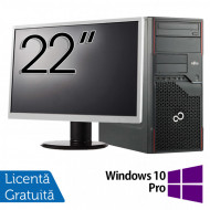 Pachet Calculator Fujitsu ESPRIMO P710 Tower, Intel Core i3-3220 3.30GHz, 4GB DDR3, 250GB SATA, DVD-RW + Monitor 22 Inch + Windows 10 Pro Calculatoare