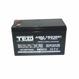 Acumulator stationar VRLA AGM 12V, 7,1Ah, F2/ T2, TED Electric, etans, UPS, Back-UP Servere & Retelistica