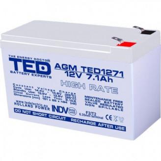 Acumulator stationar VRLA AGM 12V, 7,1Ah, High Rate, F2/ T2, TED Electric, etans, UPS, Back-UP Servere & Retelistica